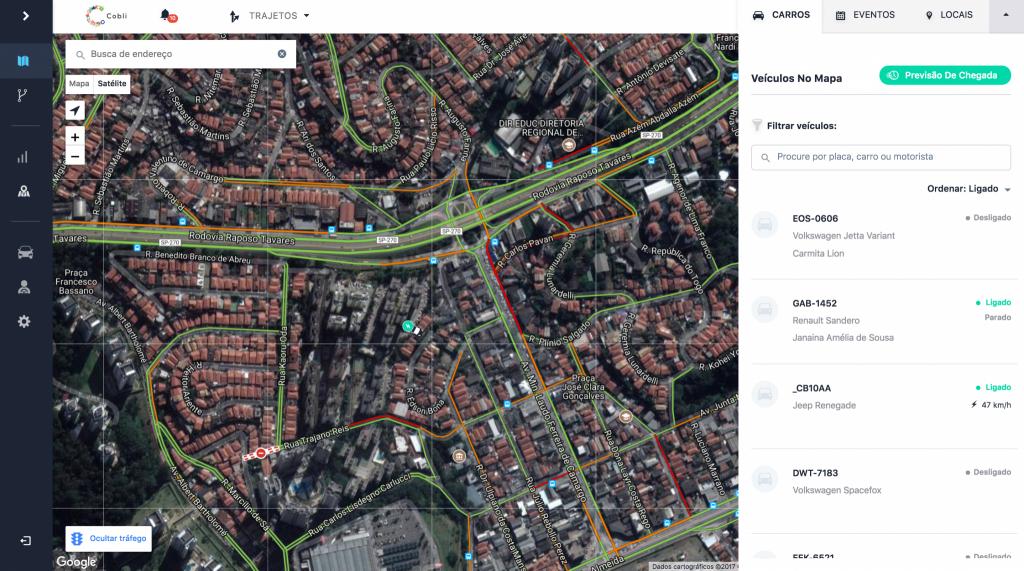 Novas funcionalidades Cobli: Mapa de Trânsito e Visão Satélite